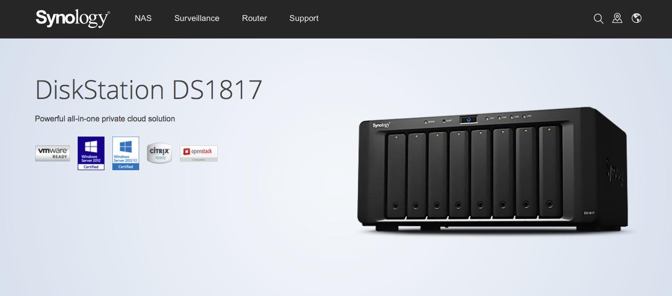 Synology 終於推出內建「兩個 10GbE 網路孔」的 NAS DS1817,但是…CPU 不是 Intel 啊!